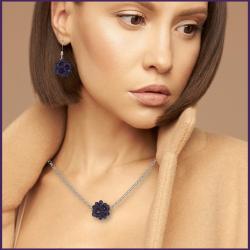 AQUA BLUE SUN NECKLACE - Crystal Handmade Jewelry