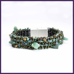 CARPET BRACELET, Stainless steel magnetic clasp, stone, crystal, seed beads